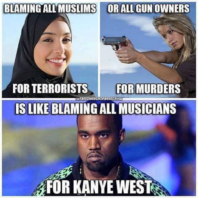 kanyememe meme perfectly explains why blaming all gun owners for orlando is