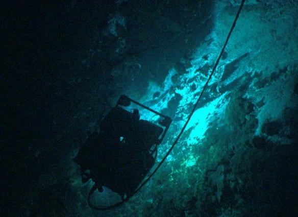 The Little Hercules ROV nears active hydrothermal vent sites on the summit of Kawio Barat submarine volcano. Image courtesy of NOAA Okeanos Explorer Program, INDEX-SATAL 2010.
