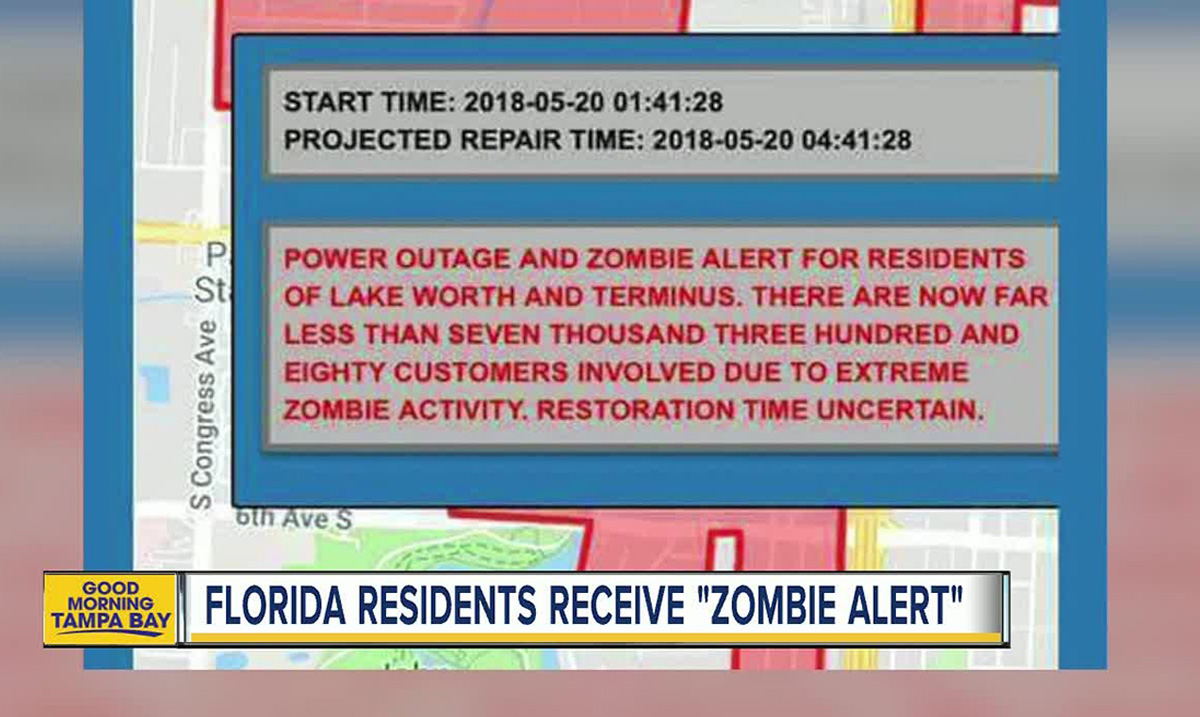 Government Alert For Zombies Awakens Florida City Residents During A Power Cut