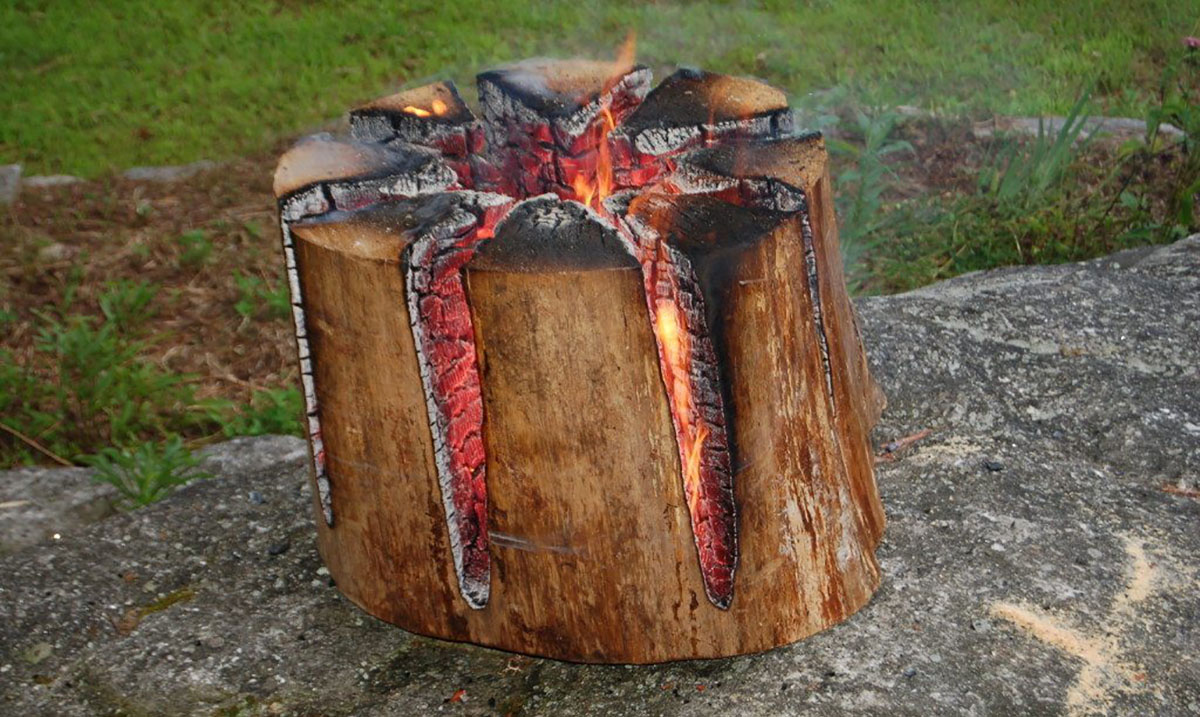 The Swedish Torch: How to Make A One Log Campfire That Burns All Night Long