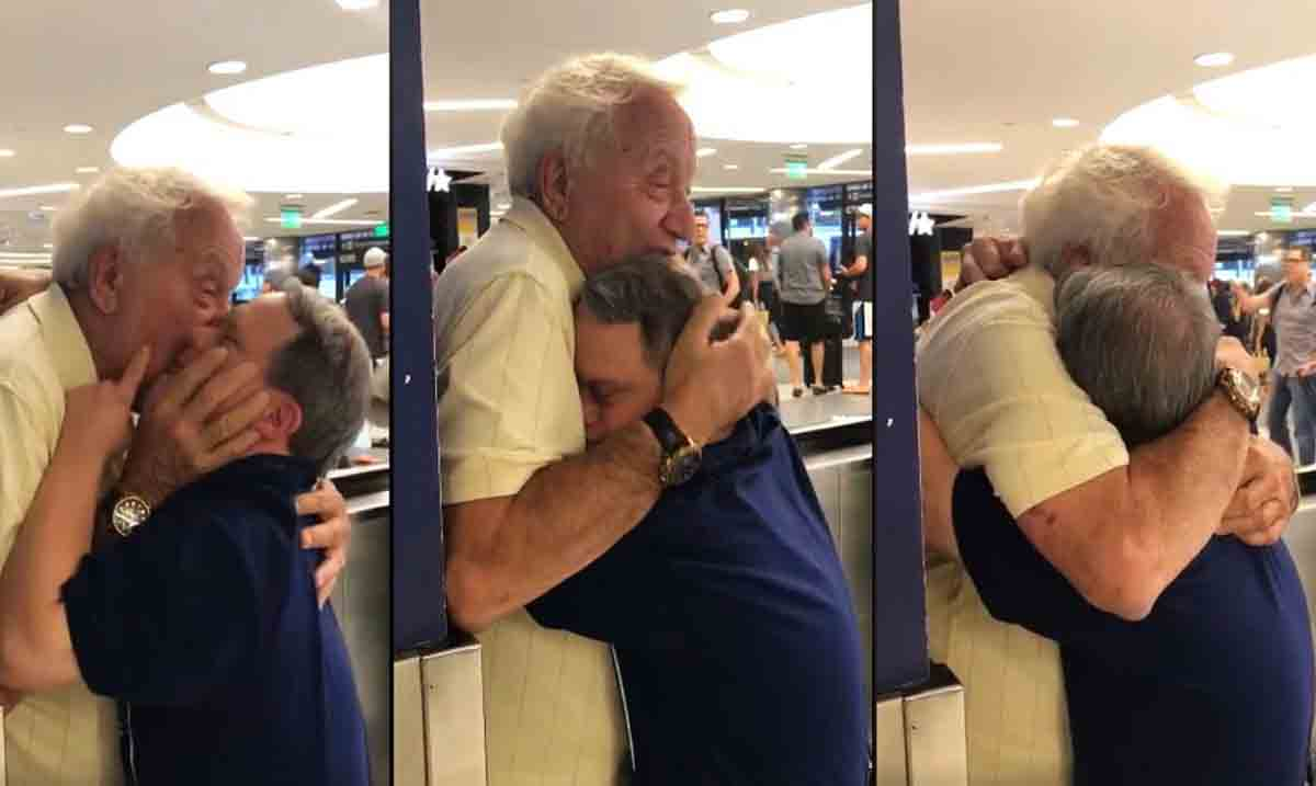 Amazing Moment Captured As Elderly Man Is Reunited With His Son Who Has Down Syndrome