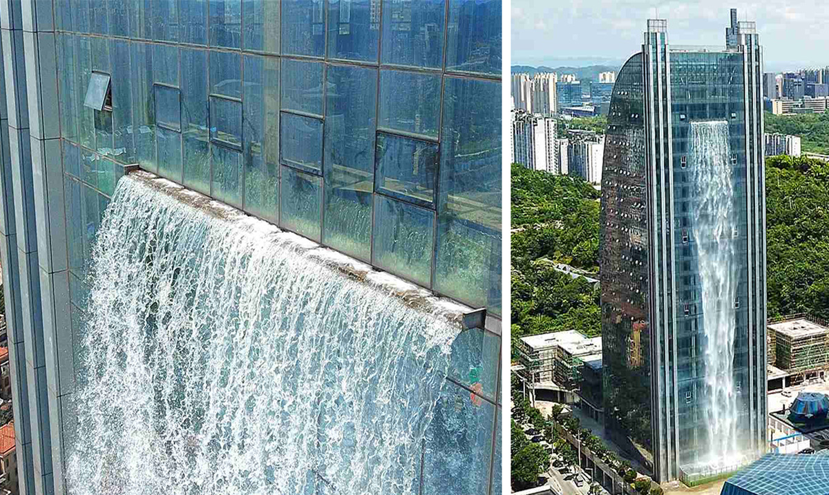 This 350 Foot Tall Waterfall Was Built On The Side of A Skyscraper