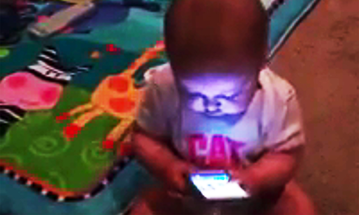 Baby Addicted Cellphone Reveals The Frightening Truth About Society Today (Video)