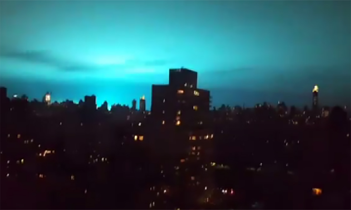Watch As Mystical Blue Light Transforms The Night Sky During Emergency Service Outage