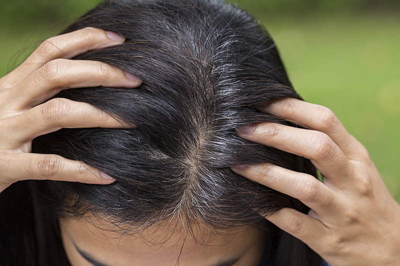 woman showing her hair