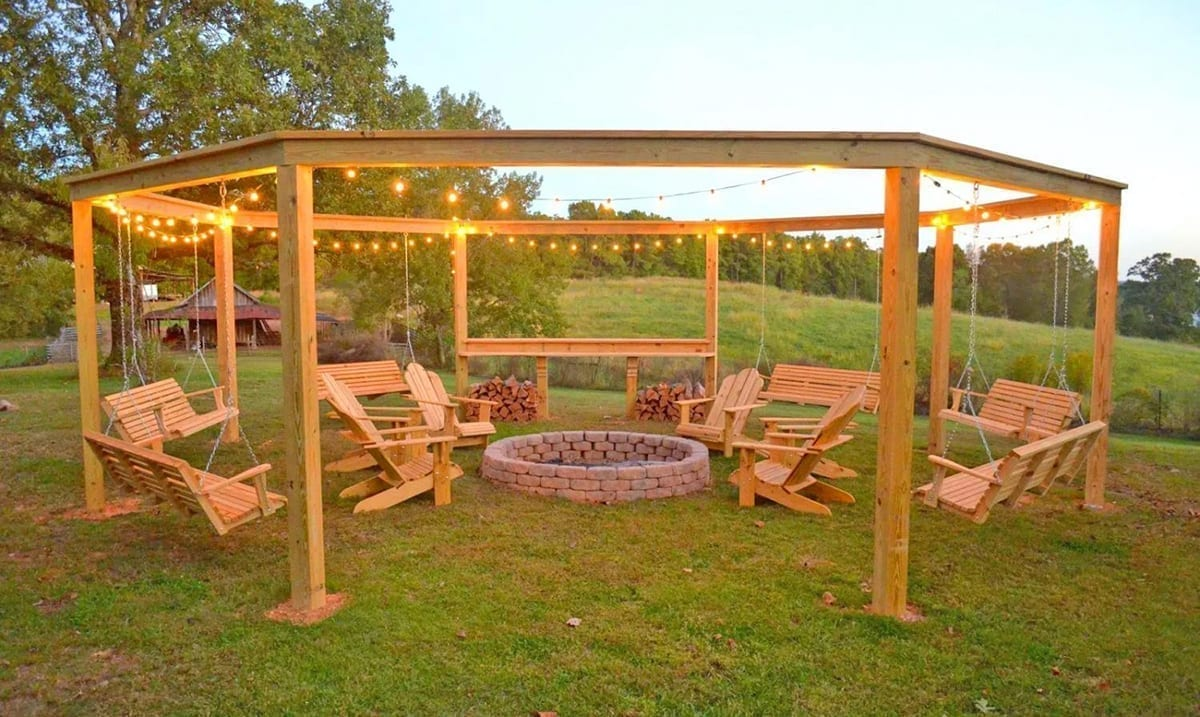 DIY Backyard Pergola With Swings And Fire Pit Is The Perfect Project To Enjoy With Family