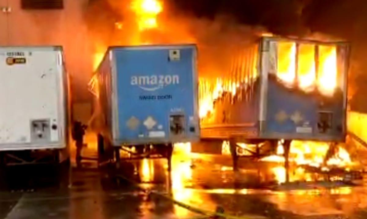 Enormous Fire At Amazon Distribution Center Destroys Entire Warehouse