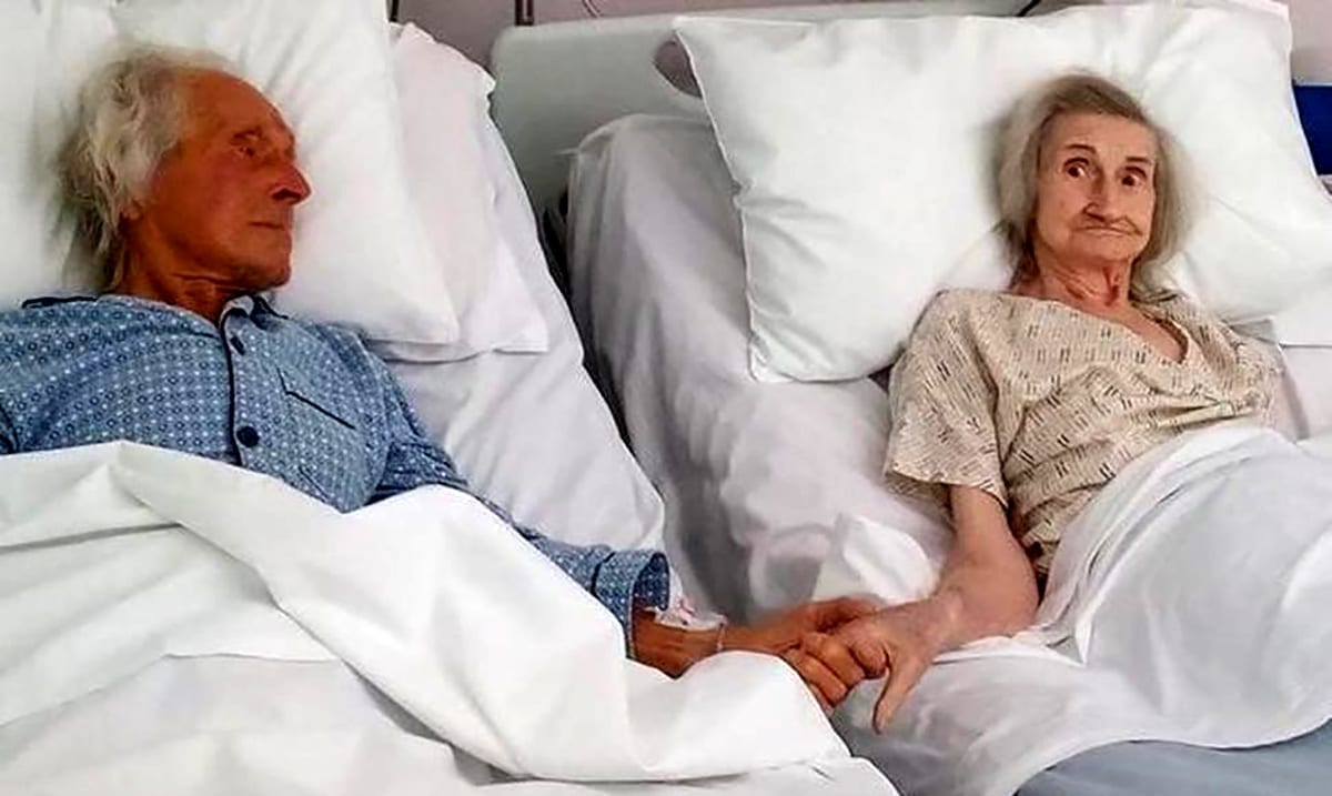 Married For Over 60 Years – Elderly Couple Hold Hands For One Last Time